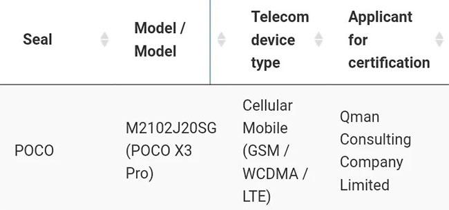 Смартфон Poco X3 Pro сертифицирован в Таиланде