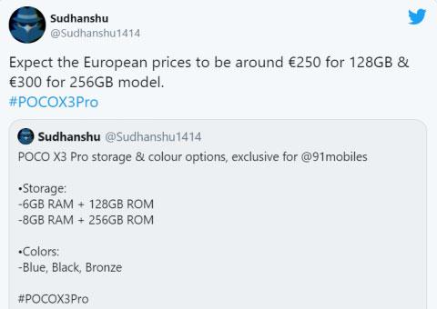 Инсайдер раскрыл ценники на смартфон Poco X3 Pro