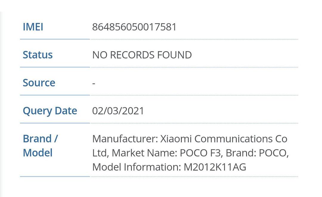 Смартфон Poco F3 подтверждён мировыми регуляторами