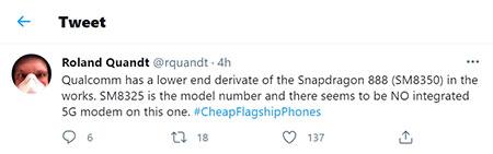 """SoC Qualcomm Snapdragon 888 получит """"лёгкую"""" версию"""