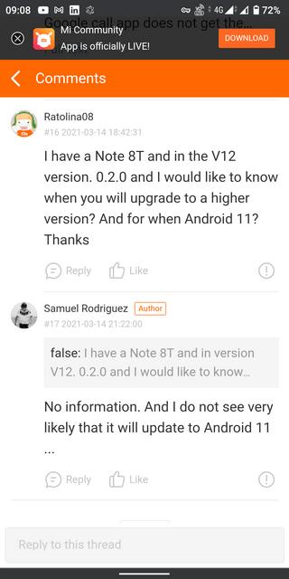 "Выход Android 11 для Redmi Note 8T ""маловероятен"""