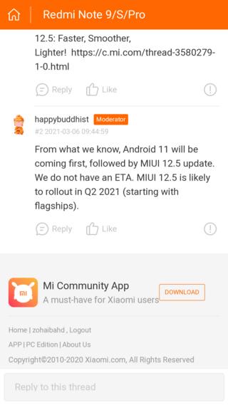 Redmi Note 9 сначала получит Android 11, а затем MIUI 12.5