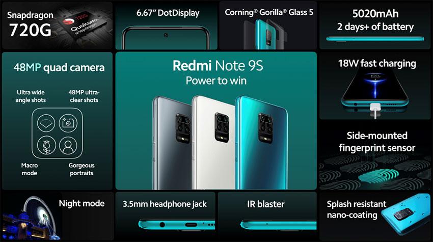 Ключевые спецификации Redmi Note 9S