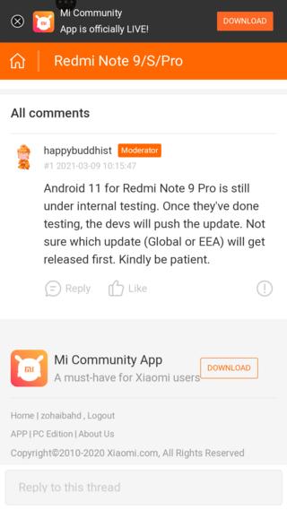 Android 11 для Redmi Note 9 Pro всё ещё тестируется